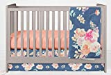 Vintage Floral Crib Bedding Set- 3 Piece Girl Crib Bedding Set with Minky Blanket - Handmade in The USA by Twig + Bird