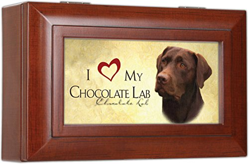(Cottage Garden Love My Chocolate Lab Rich Woodgrain Finish Petite Jewelry Music Box - Plays Song Wonderful World)