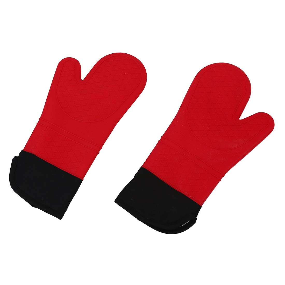 Oven Mitts Oven Sleeves - 2pcs Red Silicone Oven Mitt Glove Potholder With Extra Long Canvas Sleeve Stitching Bbq Barbecue - Pastry Microwave Mitt Sushi Women Women Oven Apron Oven Shoe W