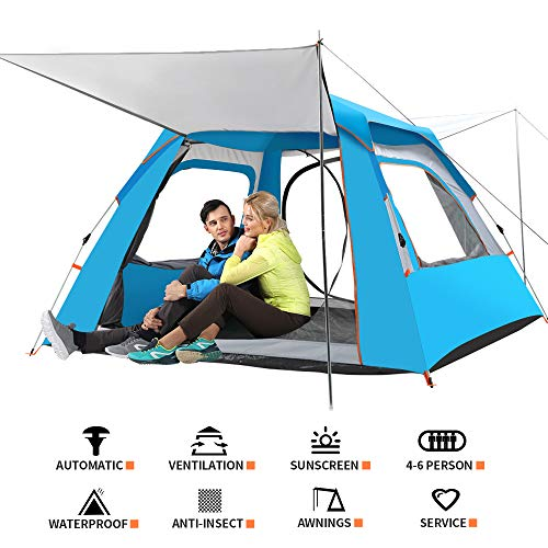 CHANODUG 4-6 Person Automatic Family Camping Tent 4 Season Outdoor Pop up Two-Door Backpacking Dome Tent Waterproof 3000mm Instant Portable Double Layer Shelter for Mountaineering Hiking (Blue)