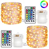 Minger 2 Set LED Fairy String Lights Waterproof Battery Operated 16.5ft 50 LEDs Micro Lights Starry Copper Wire Light with Remote Control, 16 Colors, 10 Levels Brightness, 4 Lighting Modes