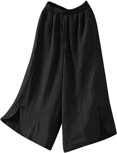 UOFOCO Plus Size High Waist Wide Leg Pants Women Cotton Linen Trousers Loose Pants