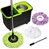 Cleaning Solutions 79117 Stainless Steel Spin Mop with 3 Microfiber Mop Head Refills, Soap Dispenser, 4 Wheels and Extendable Pole