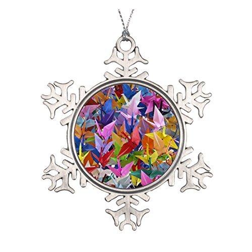 Delia32Agnes 1,000 Origami Paper Cranes Ornament Pewter Snowflake Ornaments for Christmas Decoration ()