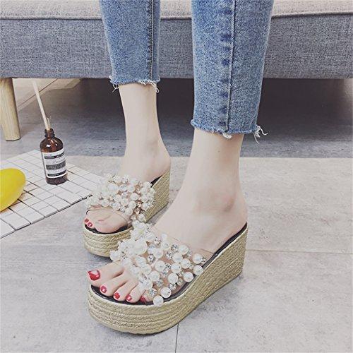 Transparentes para Zapatos con Plataforma Cordones De con Zapatillas Sandalias En del Correas Negro Diamantes 8cm Altura Perla Verano Mujer 7 Tacón De con Talón Fondo Imitación Brillante EYw7xPXqX