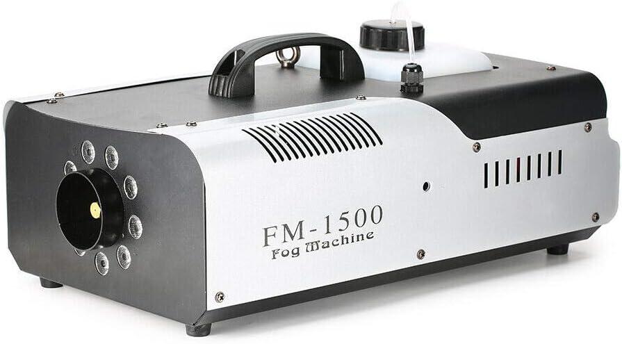 1500W Máquina de Humo 9 LED RGB DMX para la Fiest Barra DJ Disco Boda Escenario con Control Remoto y Control Remoto Inalámbrico