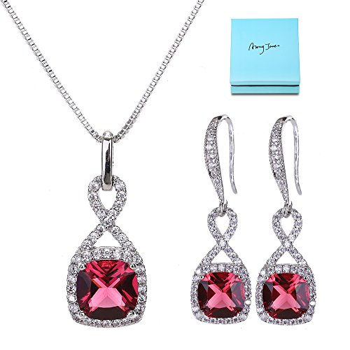 (AMYJANE Wedding Jewelry Set for Women - Sterling Silver Red Square Ruby Crystal Cubic Zirconia Wedding Necklace Earring Set Bridal Bridesmaids Gift Set Infinity Jewelry July Birthstone)