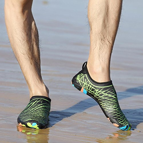 HLHN Unisex Barefoot Water Shoes, Quick Drying Breathable Yoga Surf Outdoor Swim Sport Beach Shoes Diving Snorkeling Socks Men Women Green