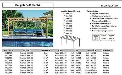 Pergola de Madera Modelo Valencia Plimfers 400x300 cm: Amazon.es: Hogar