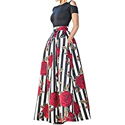 Women's Two Piece Off-Shoulder Tops Floral Print Pocket Long Circle Skirt Set L Rose