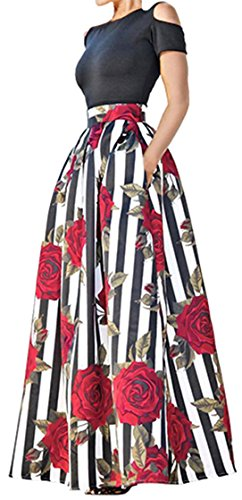 Women's Two Piece Off-Shoulder Tops Floral Print Pocket Long Circle Skirt Set L