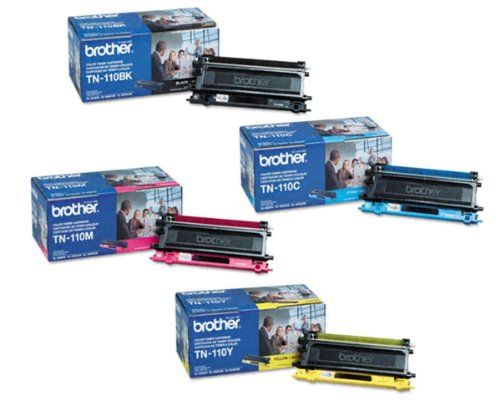 Original Brother TN-110BK, TN-110C, TN-110M, TN-110Y (TN110BK, TN110C, TN110M, TN110Y) 1500~2500 Yield Black, Cyan, Magenta, Yellow Toner Cartridge 4 Pack Set - Retail