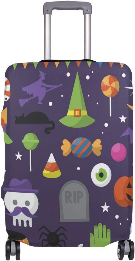 FOLPPLY Happy Halloween Pumpkin Owl Candy Luggage Cover Baggage Suitcase Travel Protector Fit for 18-32 Inch