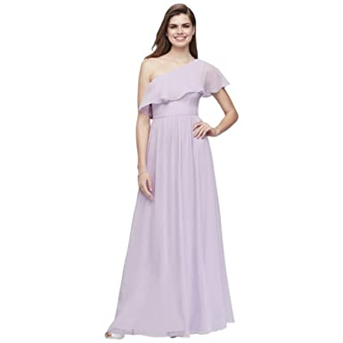 6a1d8a8415e David s Bridal Chiffon Bridesmaid Dress with One-Shoulder Flounce Style  EJ8M8683 at Amazon Women s Clothing store