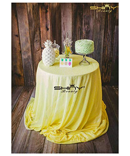 ShinyBeauty Yellow Round Linen Tablecloth 120'' Sequin Table Cover Sequence Table Cloth Great Gatsby Decorations ~190516S