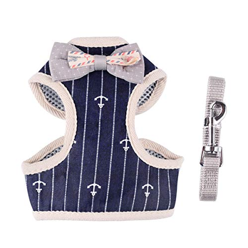 April Pets Comfortable Stylish Cotton Dog & Cat Harness Leash Set for Small Puppies and Cats (M, Navy Anchor) from April Pets