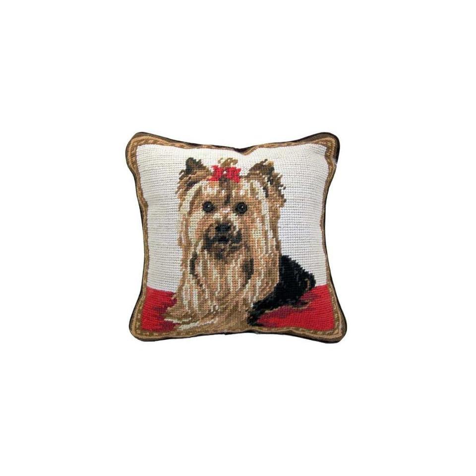 Yorkie Yorkshire Terrier Dog Needlepoint Throw Pillow 10