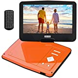 COOAU Portable DVD Player 12.5'' with Advanced High-Brightness Swivel Screen, Dual Headset Ports, Support Multi-Format, Region Free, Long Lasting Battery with Power Adapter & Car Charger, Orange