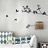 Changeshopping Tree Branch Black Bird Art Wall Stickers Removable Vinyl Decal Home