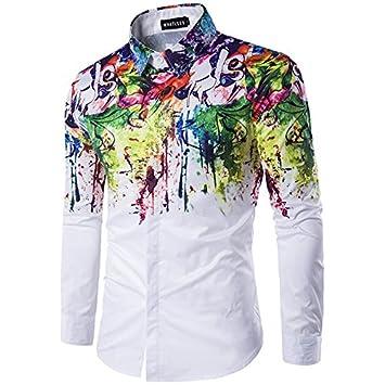 MAYUAN520 Shirts Flower Printed Men Dress Shirt Splashed Paint Pattern Printed 3D Shirt Slim Fit Male