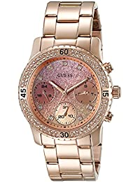 GUESS Women's U0774L3 Rose Gold-Tone Watch with Pink Multi-Function Dial