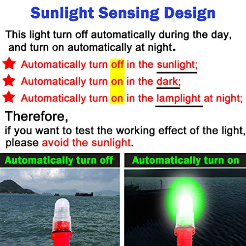 Botepon Boat Kayak Flash Lights Strobe Lights IP67 Waterproof for Navigation Lights, Marine Distress Lights, Emergency Lights, Fishing Net Marker Lights, Red and Green by Botepon (Image #2)
