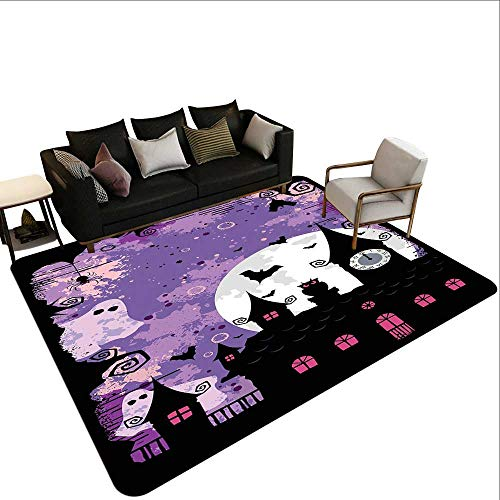 (Decorative Floor mat,Halloween Midnight Image with Bleak Background Ghosts Towers and Bats 6'x9',Can be Used for Floor)