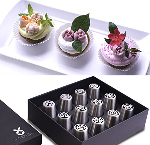 Russian Piping Tips, Cake Baking Supplies, 12 Pcs Set For Cake Decorating Tools And Cake Design, Stainless Steel Large Size, Ebook With Instructions, By (Easy Halloween Cupcake Decorating Ideas)