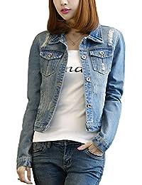 S-7 Women's Popular Long Sleeves Hole Denim Jacket