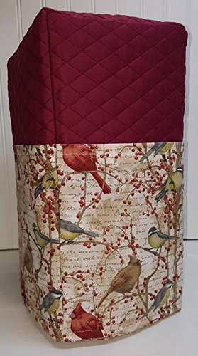 Blender Appliance Cover (Quilted Birds & Berries Large Blender Cover (Burgundy))