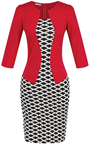 Dress Cromoncent Two Bodycon Red Fake Belt Workwear Pencil Plaid Print Womens zqFRw1