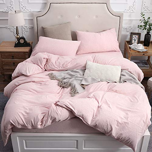 PURE ERA Solid Cotton Jersey Knit Home Bedding Collection 3 Pieces Duvet Cover Set, 1 Comforter Cover and 2 Pillow Shams Pink/Light Coral Queen Size (Light Shams Pink)