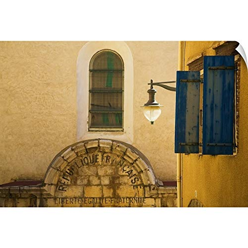 """Canvas on Demand Wall Peel Wall Art Print Entitled Enscribed Building Facade, Collioure Fishing Village Artists Colony, Pyrenees Orientales, France 24""""x16"""""""
