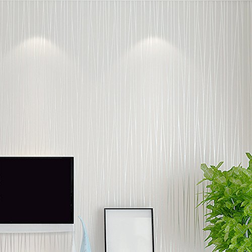Mavee Non-Woven 3D Wallpaper, Print Embossed, White Modern Stripe Fashion Wallpaper for Livingroom, Bedroom, Kitchen and Bathroom, (20.8In x 32.8Ft) (Wallpaper Textured White)