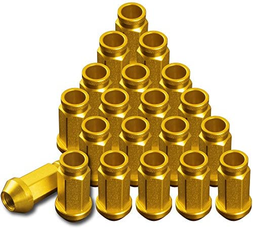 品番+RN04 レーシングナット ホイールナット ゴールド M12×P1.25 貫通型Aロング 6穴用 24本 アルミ 日産 スバル スズキ