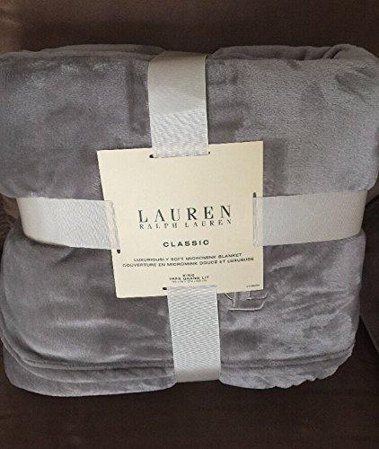 Ralph Lauren Luxurious Soft Micromink Throw/Blanket (Gray) - Queen/Full - 90x90