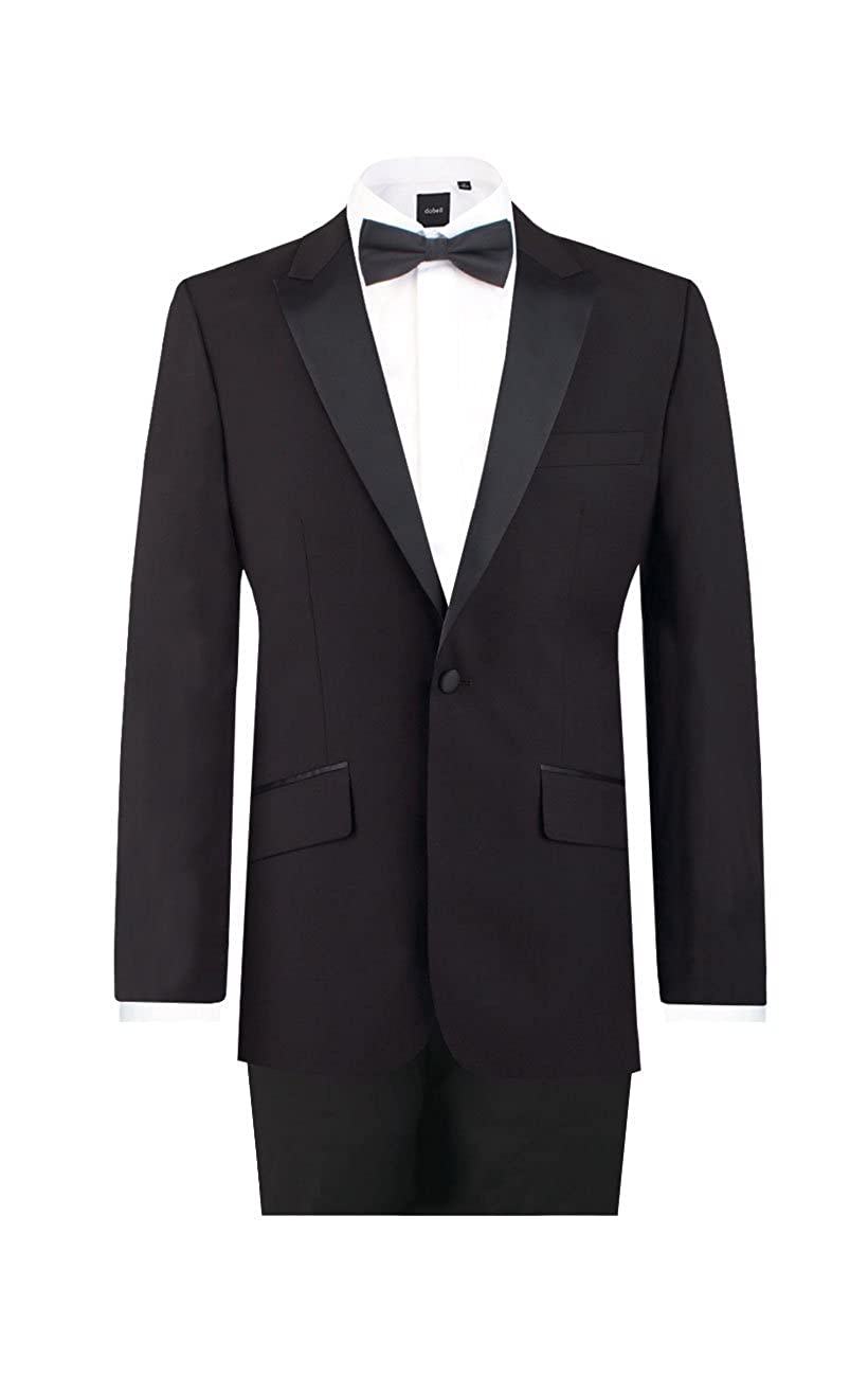 Dobell Mens Black 2 Piece Tuxedo Slim Fit Peak Lapel