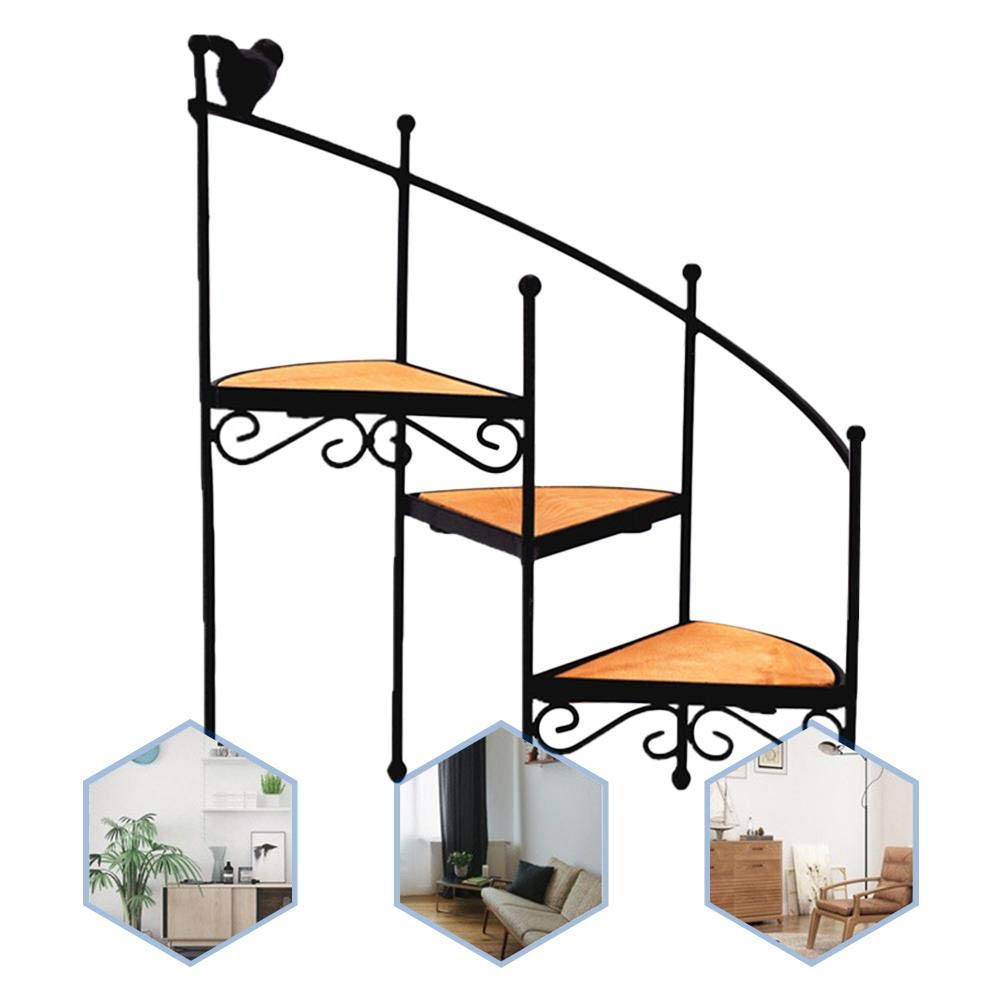 Garden Patio RecoverLOVE Plant Stand 3-Tier Plant Flower Pot Stand Rack Corner Rotating Stair Step Planter Stand Decorative Flower Pot Holder Stairs Display Iron Racks Ideal for Home