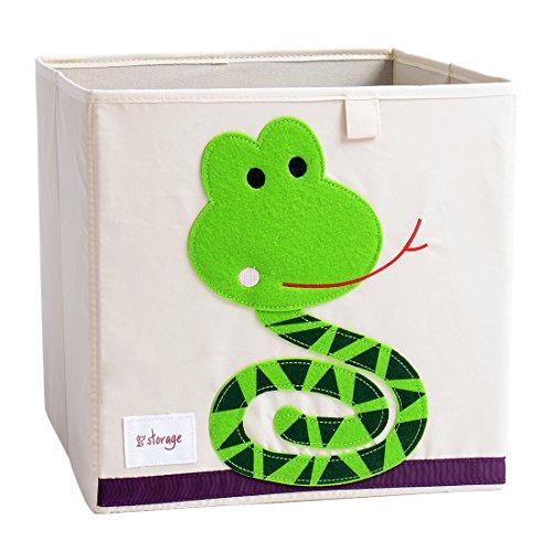 DODYMPS Foldable Animal Canvas Storage Toy Box/Bin/Cube/Chest/Basket/Organizer for Kids, 13 inch (Snake)