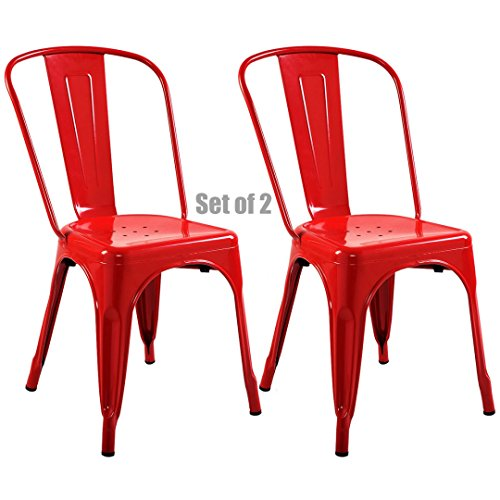 (Vintage Antique Style Metal Steel Bar Stools School Office Counter Chairs Sturdy Frame Scratch Resistant - Set of 2 Red #743R)