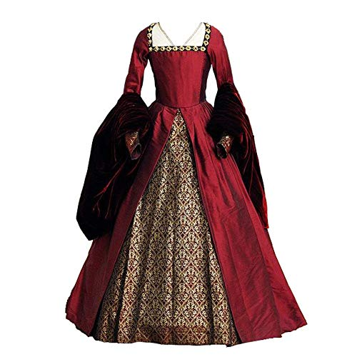 1791's lady The Other Boleyn Girl Dress Gown Anne's Costums (S:Height63-65 Chest34-35 Waist26-27'', Red) -