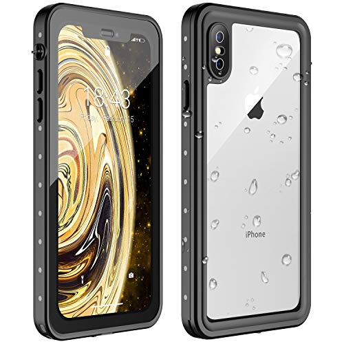 Nineasy iPhone X Waterproof Case iPhone Xs Waterproof Case, 360° Full Body Protection Underwater Cover IP68 Certified Dustproof Snowproof Shockproof Waterproof Case for iPhone X/Xs(Black/Clear) (Iphone X Case Best Protection)
