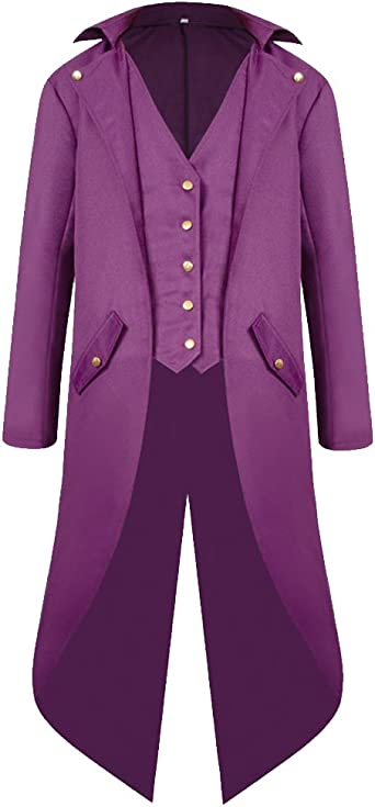 H&ZY Men's Steampunk Vintage Tailcoat Jacket Gothic Victorian Frock Coat