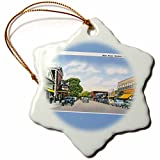 3dRose orn_170226_1 Main Street, Hyannis, Cape Cod Street Scene with Antique Cars-Snowflake Ornament, Porcelain, 3-Inch