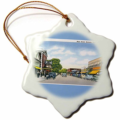 3dRose orn_170226_1 Main Street, Hyannis, Cape Cod Street Scene with Antique Cars-Snowflake Ornament, Porcelain, 3-Inch by 3dRose