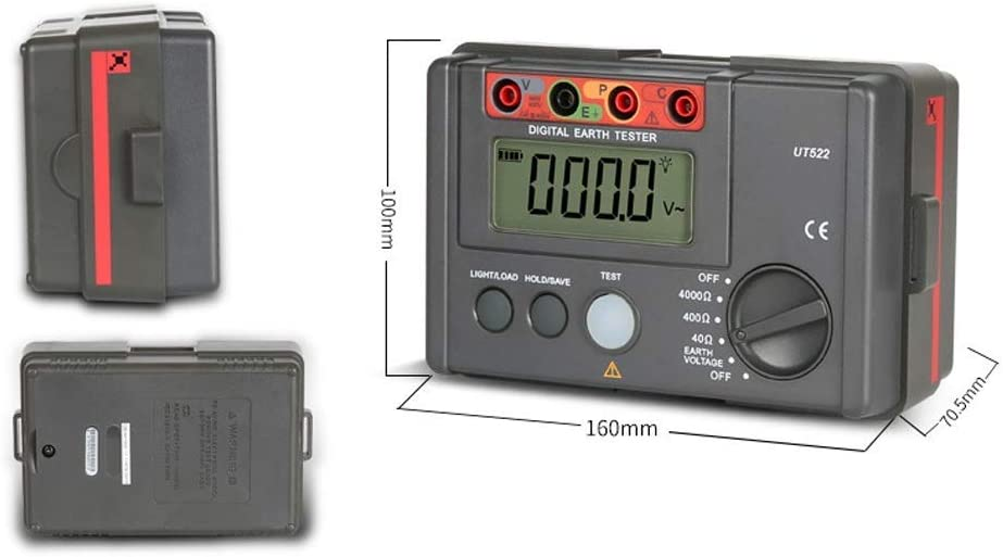ShiSyan Y-LKUN Resistance Tester UT522 Digital Earth Ground Meter 0-400V 0-4000 Ohm AC Insulation Resistance Tester with Data and Hold LCD Backlight Display