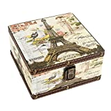 WaaHome Wood Jewelry Keepsake Storage Box Memory Boxes Eiffel Tower Decorative Boxes For Girls Kids, 6.4''LX6.4''WX3.2''H