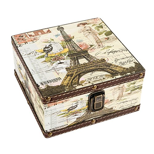 "WaaHome Wood Jewelry Keepsake Storage Box Memory Boxes Eiffel Tower Decorative Boxes For Girls Kids, 6.4""LX6.4""WX3.2""H"