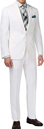 Includes Jacket and Pants New Mens 2 Button White Dress Suit