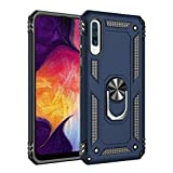 Military Grade Drop Impact for Samsung Galaxy A50 Case 360 Metal Rotating Ring Kickstand Holder Magnetic Car Mount Armor Heavy Duty Shockproof Cover for Galaxy A50 Phone Protection Ca (Blue)